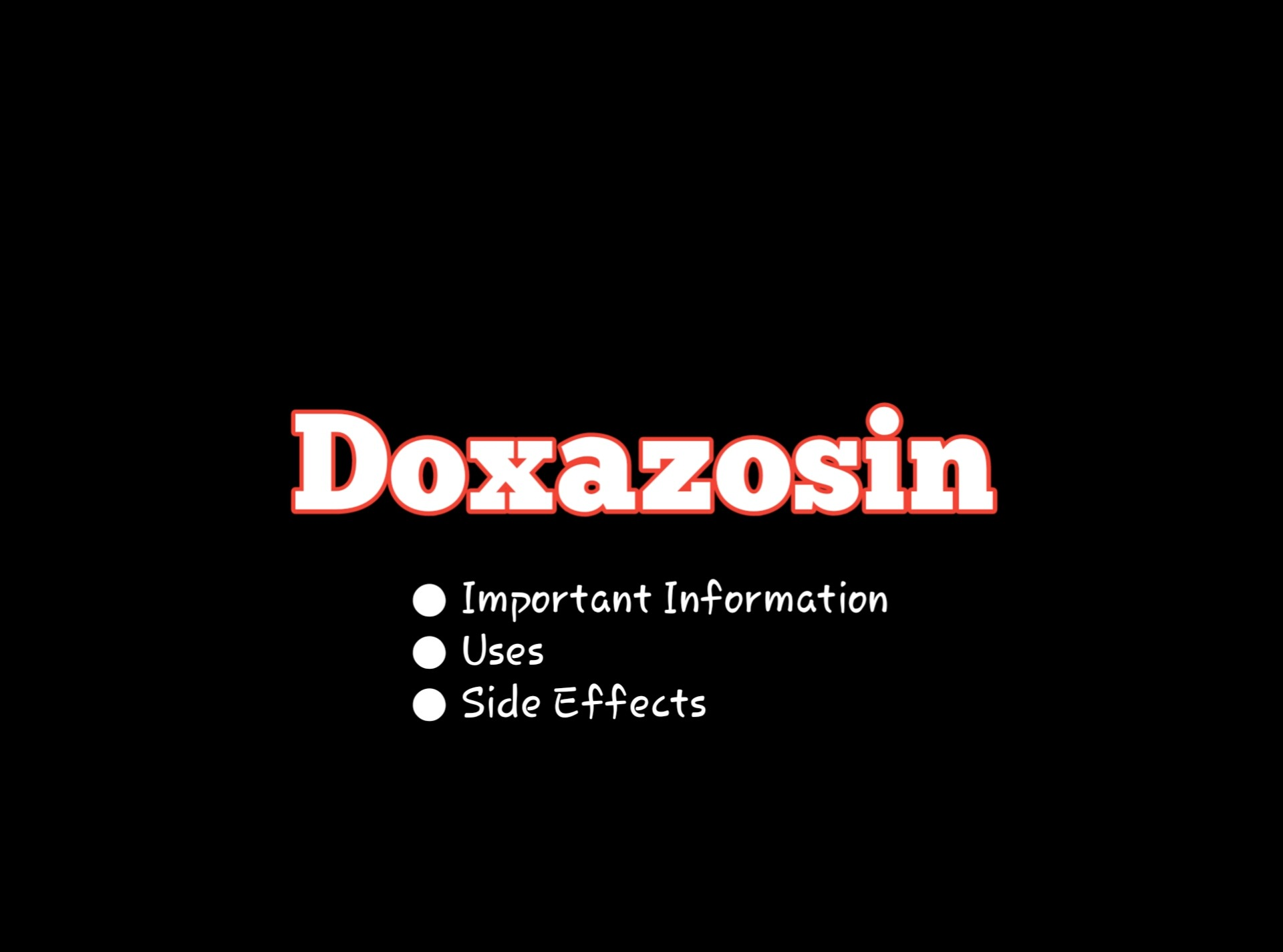 Important Information About Doxazosin